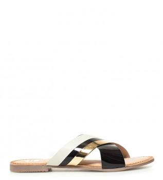 Gioseppo - Sandalias de piel Ciana negro, dorado
