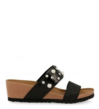 b6cc69e843 Gioseppo Sara sandálias pretas - altura da cunha  5cm