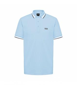 Comprare Hugo Boss Polo a righe blu con colletto e polsini