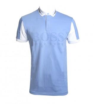 Acheter Hugo Boss Polo en coton avec logo embossé Pavel bleu