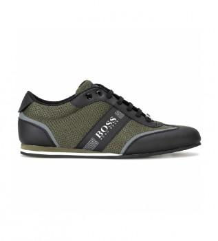 Buy Hugo Boss Low Top Sneakers in mesh and dark green rubber fabric