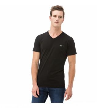 Acheter Lacoste T-shirt noir à col en V avec col Pico