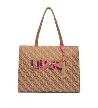 Comprare Liu Jo Borsa jacquard Logo beige -39,5x15,5x31cm-