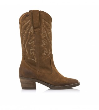 Buy Mustang Ares brown leather boots -Heel height: 5 cm