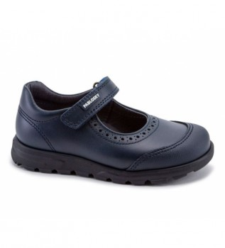 Buy Pablosky Navy blue leather ballerina pumps 334120