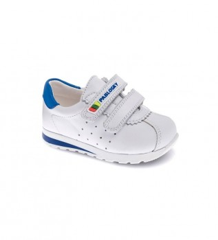 Buy Pablosky Zip leather sneakers white, blue