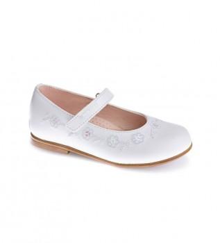 Buy Pablosky Vogue white leather ballet pumps
