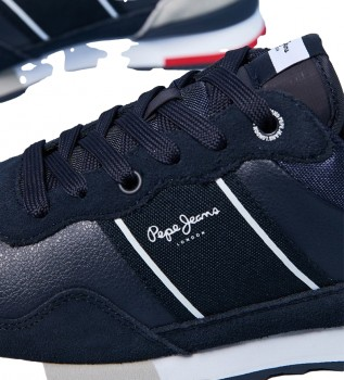 Acheter Pepe Jeans Baskets Cross 4 Court en cuir bleu marine