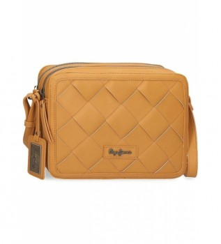 Buy Pepe Jeans Cutouts mustard shoulder bag -25x19x7cm