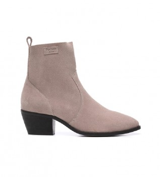Buy Pepe Jeans Lola Bass pink leather ankle boots -Heel height: 5 cm