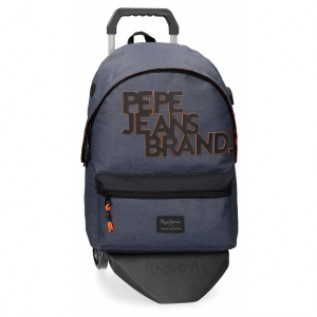 Buy Pepe Jeans Pepe Jeans Troy School Backpack with Trolley blue -31x44x15xcm