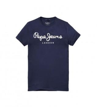 Comprare Pepe Jeans T-shirt blu navy elasticizzata con logo basic