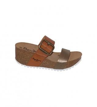 Comprar Pepe Jeans Sandalias Tyron Rose marrón -Altura cuña: 7 cm-