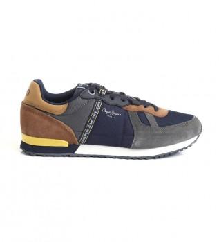 Acheter Pepe Jeans Baskets en cuir combiné Tinker bleu, gris, marron