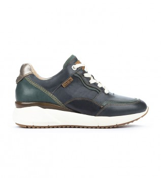 Buy Pikolinos Sella navy leather sneakers -Height wedge: 4,3 cm- -Sella navy leather sneakers -Height wedge: 4,3 cm- -Shoes in navy leather