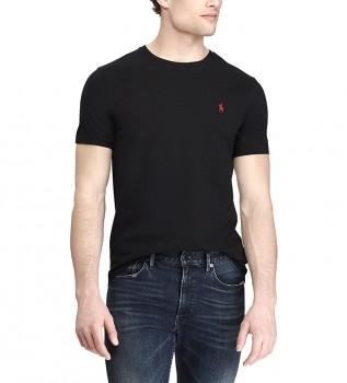 Comprare Ralph Lauren T-shirt nera in maglia personalizzata Slim Fit