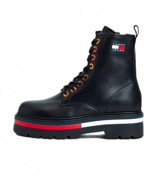 Comprar Tommy Hilfiger Botas em pele preta Iridescent Eyelets -Altura das botas em forma de plataforma: 5,4cm
