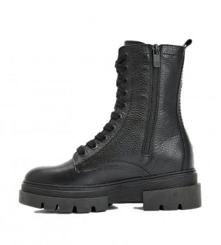 Acheter Tommy Hilfiger Bottes en cuir à lacets monochromes noires