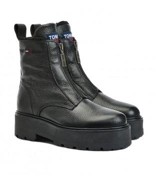 Acheter Tommy Hilfiger Bottes en cuir zippées et doublées noir - Hauteur du talon : 5,4cm