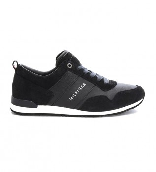 Comprare Tommy Hilfiger Iconic Leather Suede Mix Runner sneakers nere, bianche