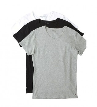 Comprare Tommy Hilfiger Confezione da 3 magliette elasticizzate con scollo a V nere, grigie, bianche