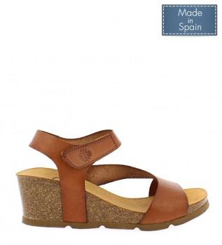 55d18e8b5a4 Yokono Sandalias de piel Cadiz 098 marrón -Altura cuña  5