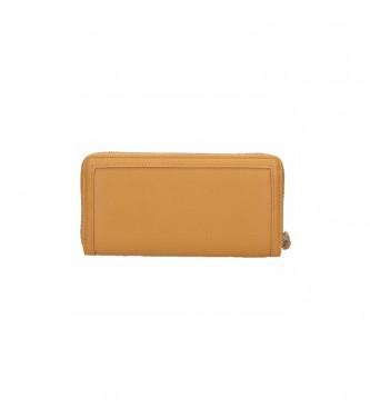 Pepe Jeans Recortes de carteira em couro -18x10x2cm- ochre