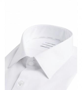 Calvin Klein Camisa Slim sarga de algodón blanco