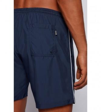 Hugo Boss Bañador Tipo Shorts de Secado Rápido con Ribeteado y Logo en Contraste marino