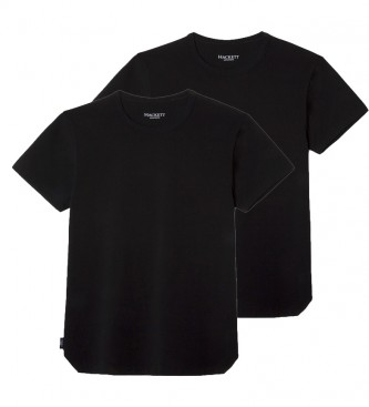 HACKETT Pack 2 t-shirts col ras du cou noir, blanc