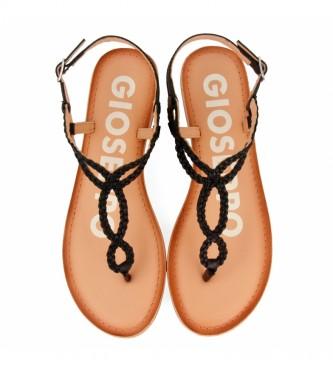 Gioseppo Sandálias de couro preto Fyffe