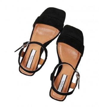 Pepe Jeans Sandali Romy Bass in pelle nera -Altezza tacco: 6cm-