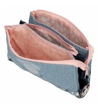 Joumma Bags Trousse à crayons Mickey Denim à trois compartiments bleu -22x12x5cm