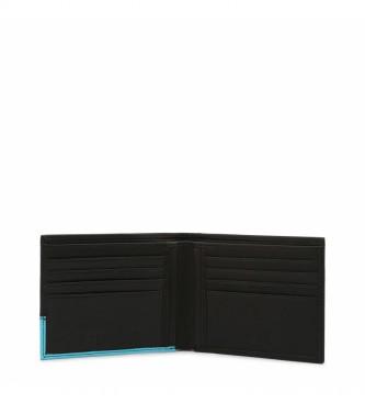 Bikkembergs Carteira de couro E2BPME693043 preta, turquesa -11,5x9,5x1,5cm