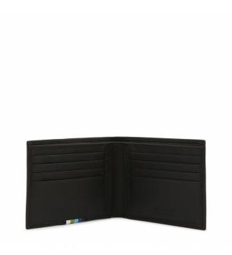 Bikkembergs Carteira de couro E2BPME1X3043 preta -11,5x9,5x1,5cm