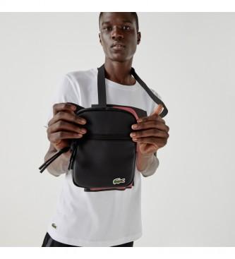 Lacoste Alça de ombro plana Crossover preta -15,2x20,3x2,5cm