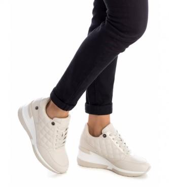 Xti Wedge sneakers 043236 beige - Height 6cm wedge