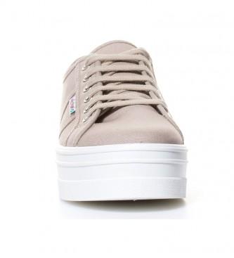 Victoria Chaussures compensées en toile taupe -Hauteur de plateforme: 4,5 cm-