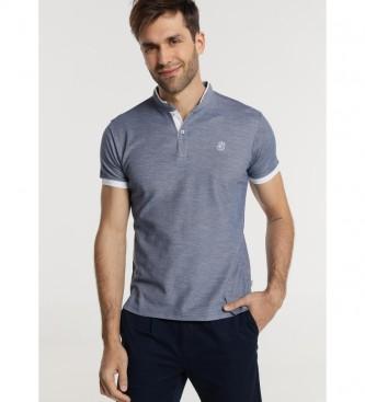Bendorff Slub Pique Camisa pólo azul Contraste