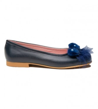 Angelitos Leather Manoletina/Ballerina with navy Pompom front
