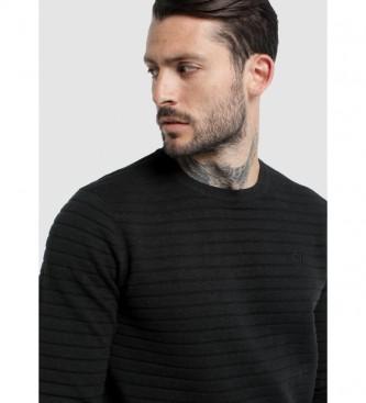 Six Valves Black Stripe Relief Sweater