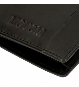 Movom Portefeuille de fantaisie vertical en cuir avec portefeuille noir -8,5x11,5x1cm