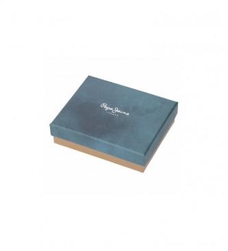 Pepe Jeans Pepe Jeans Carteira de couro raspado com cartão azul -11x8,5x1cm