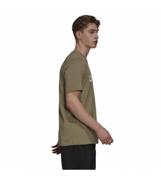 adidas Essentials Embroidered Linear Logo T-Shirt khaki green
