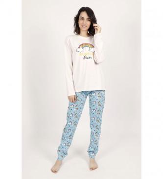 Admas Pyjama à manches longues Rainbow Power blanc