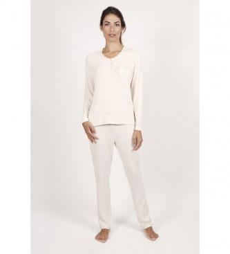 Admas Pyjama à manches longues beige forêt