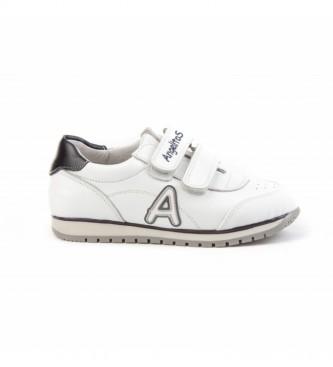 Angelitos Zapatillas de piel School blanco, marino