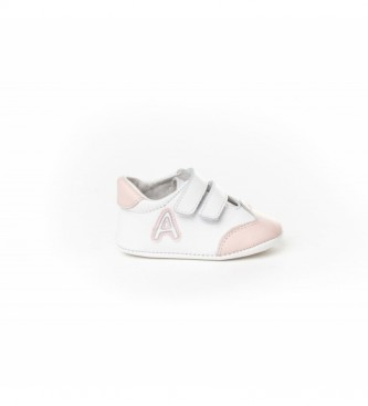 Angelitos Zapatillas de piel velcro blanco, rosa