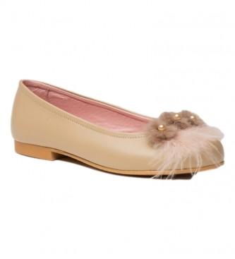 Angelitos Leather Manoletina/Ballerina with camel Pompom front