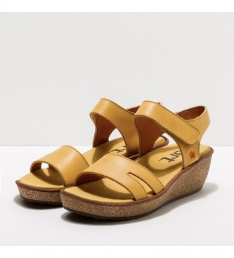 Art 1871 Capri yellow leather sandals -Height of the wedge: 5cm- -Leather sandals 1871 Capri yellow -Height of the wedge: 5cm- -Leather sandals 1871 Capri yellow